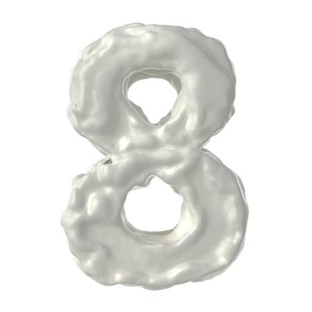 総: 白い背景の上 8 の白いミルクを数します。