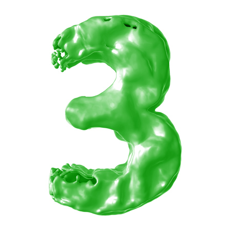 number 3 green milk on white background Stock Photo