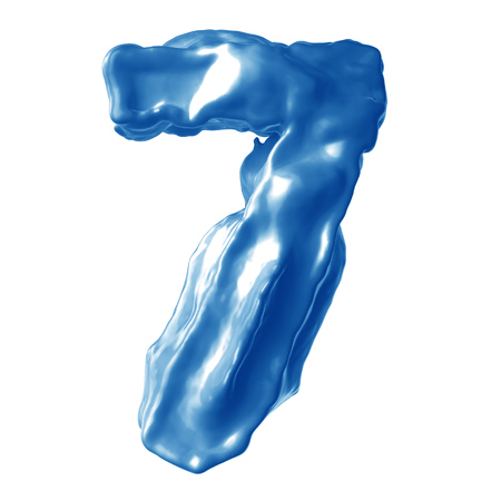 number 7 blue milk on white background
