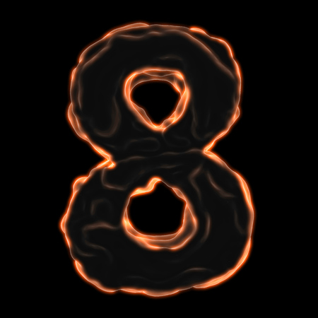 number 8 fiery border on a black background Stock Photo