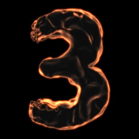 retardant: number 3 fiery border on a black background