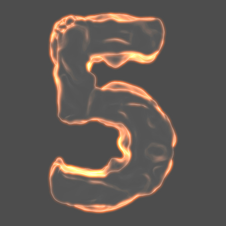retardant: number 5 fiery border on a gray background
