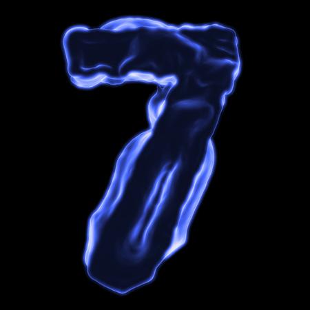 retardant: number 7 blue fiery border on a black background