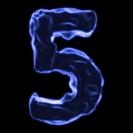 retardant: number 5 blue fiery border on a black background Stock Photo