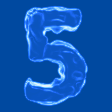 retardant: number 5 blue fiery border on a blue background