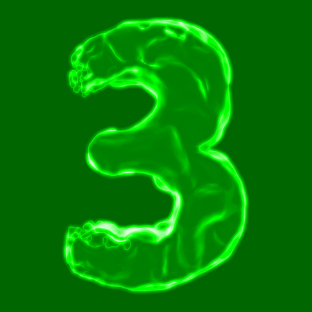 number 3 green fiery border on a green background Stock Photo