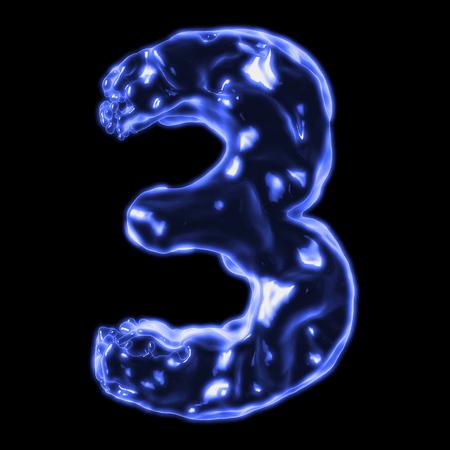 retardant: number 3 blue fiery border on a black background Stock Photo