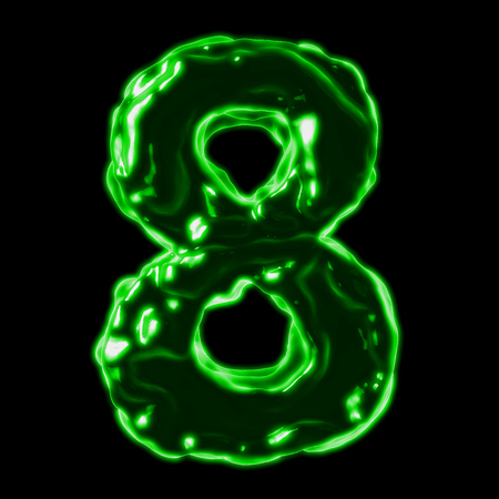 number 8 green fiery border on a black background