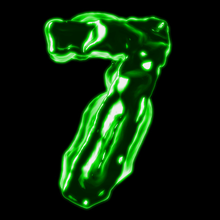 retardant: number 7 green fiery border on a black background
