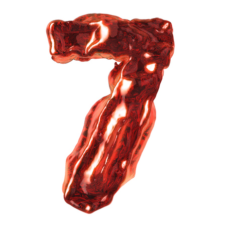 number 7 red liquid on a white background Stock Photo