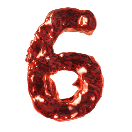 number 6 red liquid on a white background