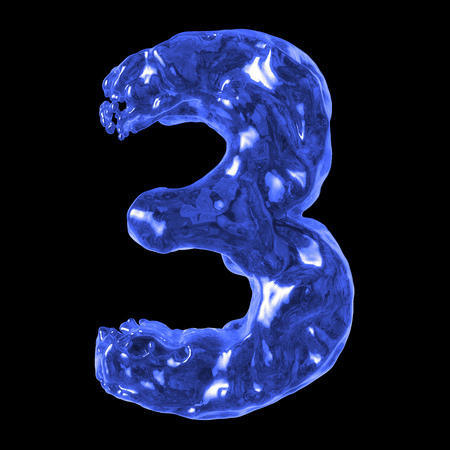 number 3 blue water on a black background Stock Photo