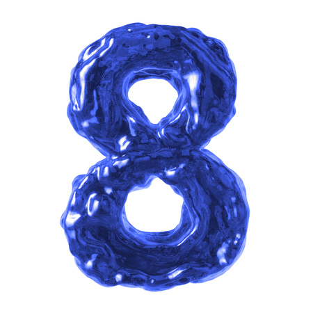 number 8 blue water on a white background