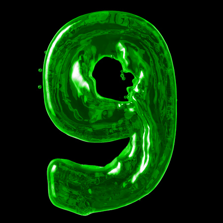 number 9 green liquid on a black background