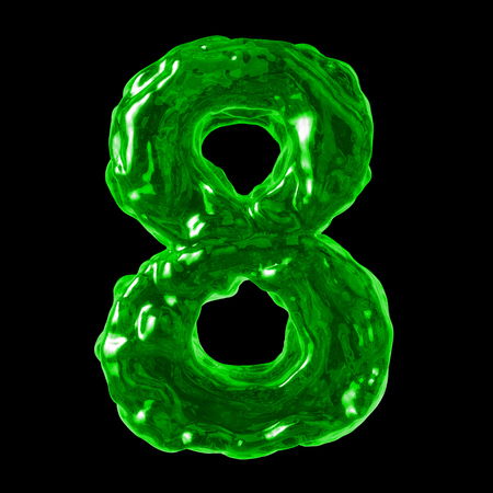 number 8 green liquid on a black background
