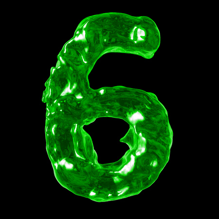 number 6 green liquid on a black background