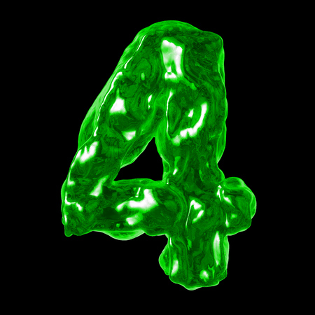 number 4 green liquid on a black background Stock Photo