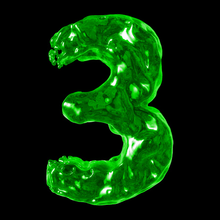 retardant: number 3 green liquid on a black background