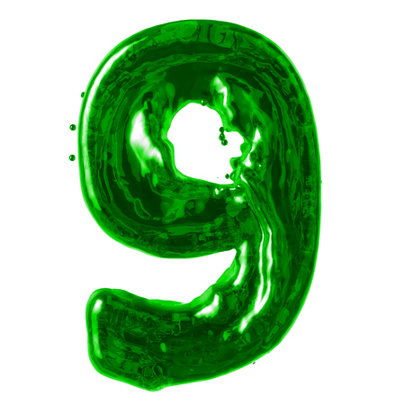 number 9 green liquid on a white background