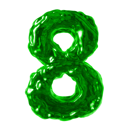 number 8 green liquid on a white background Stock Photo