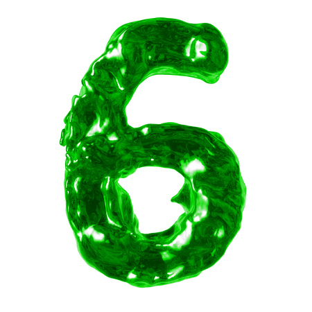 number 6 green liquid on a white background