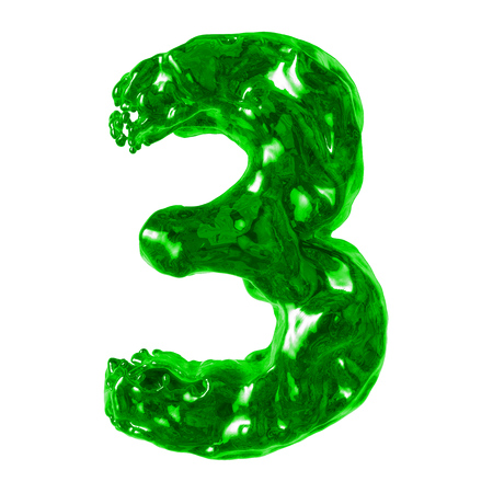 number 3 green liquid on a white background