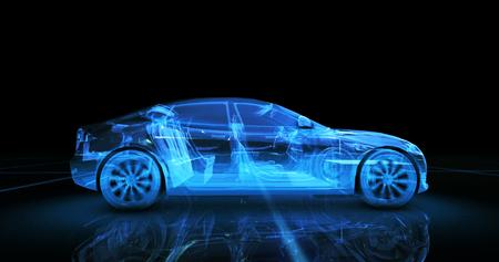 Het model van de sportwagendraad met blauwe neon ob zwarte achtergrond Stockfoto