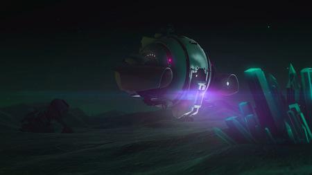 interplanetary: drone explores glowing crystal. Night sky
