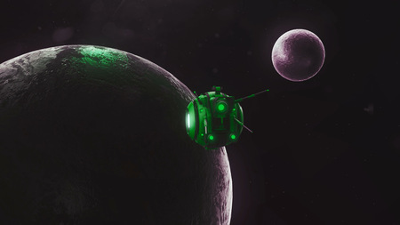 interplanetary: Drone explores uninhabited land. Night sky. Black background