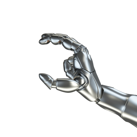 Futuristic design concept of a robotic mechanical arm matte chrome . Template Isolated on white background.