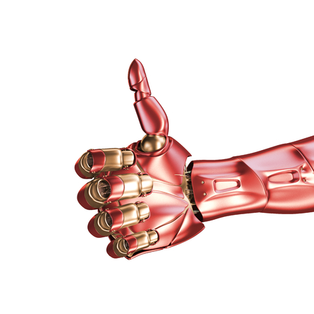 The hand of an iron man. Red and gold coloring. 3d rendering. Template isolated on white background.