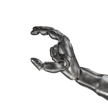 artificial model: The old robot arm is scratched. 3d rendering. On a white background Stock Photo