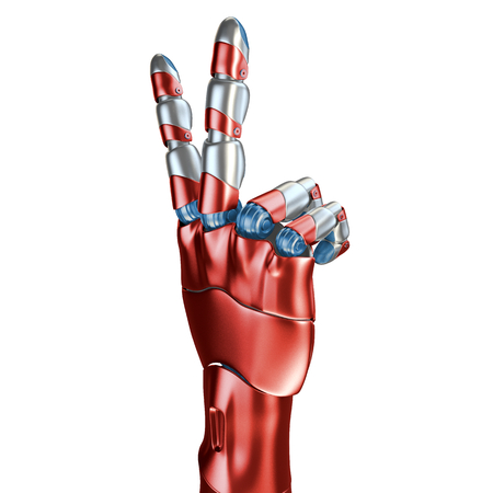 Futuristic Concept of a robotic mechanical arm matte chrome . Red-blue color. Template Isolated on white background. Stock Photo - 75586748