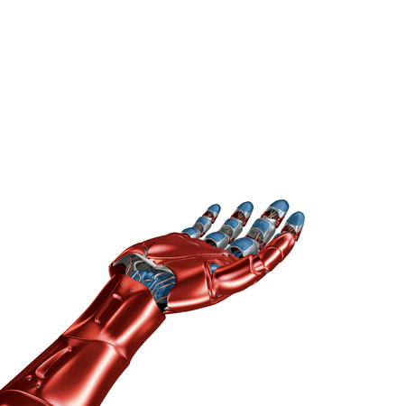 Futuristic Concept of a robotic mechanical arm matte chrome . Red-blue color. Template Isolated on white background.