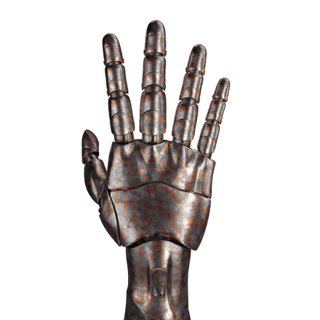 cybernetics: The old robot arm is scratched. 3d rendering. On a white background Stock Photo