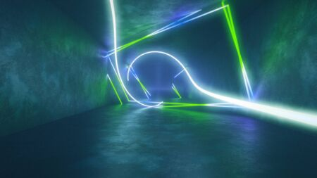 4k 3d render, looped animation tunnel, abstract seamless background, fluorescent ultraviolet light, glowing neon lines, moving forward inside endless tunnel, blue green spectrum, modern colorful illumination. Ultra HD. 3840x2160