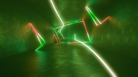4k 3d render, looped animation tunnel, abstract seamless background, fluorescent ultraviolet light, glowing neon lines, moving forward inside endless tunnel, red green spectrum, modern colorful illumination. Ultra HD. 3840x2160