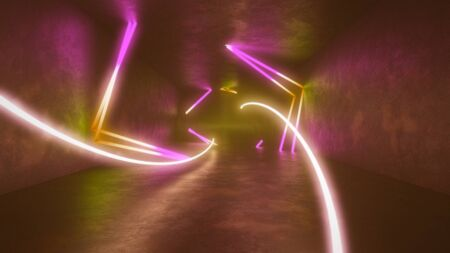 4k 3d render, looped animation tunnel , abstract seamless background, fluorescent ultraviolet light, glowing neon lines, moving forward inside endless tunnel, blue pink spectrum, modern colorful illumination. Ultra HD. 3840x2160 Archivio Fotografico