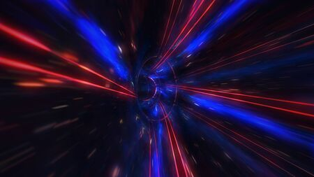 motion design. flight through the lighting space tunnel. Wormhole Archivio Fotografico
