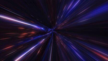 diseño en movimiento. Vuelo a través del túnel espacial de iluminación. Agujero de gusano