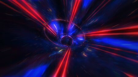 motion design. flight through the lighting space tunnel. Wormhole 免版税图像