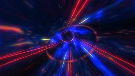 4K motion design. flight through the lighting space tunnel. Wormhole Archivio Fotografico