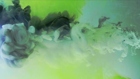 4k Multicolored composition from ink streams. Black and white streams of ink float and mix in the center of the composition. Colorful abstract combination of acrylic rainbow ink on a light green background. Ink in water, slow motion. Archivio Fotografico