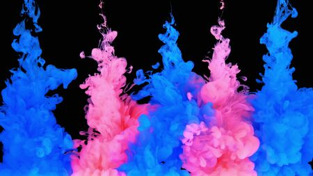 4k Multicolored composition of ink jets. jets of ink from red and blue colors are mixed in the center of the composition. Colorful abstract combination of acrylic rainbow painted black background. Ink in water, slow motion. Archivio Fotografico