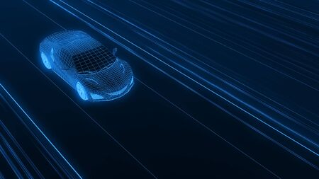 A modern sports car drives quickly through an abstract light tunnel . 3d render