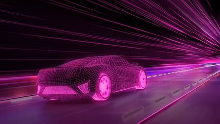 A modern sports car drives quickly through an abstract light tunnel . 3d illustration