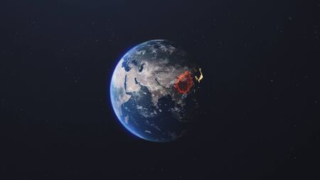 The spread of the virus on the planet. Planet in the starry sky. 3d render