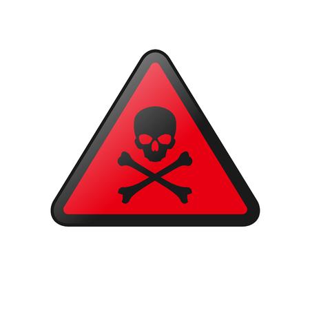 Danger sign skull and crossbones on red board icon vector illustration Illustration