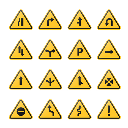 Road signs icon on yellow board vector illustration