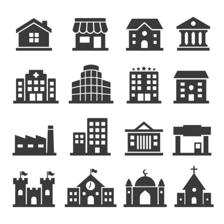 Public building vector icon set on white background